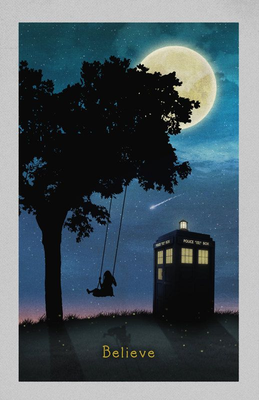 """Silhouetted girl on swing with tree and TARDIS with """"Believe"""" at Evening with moon // Doctor Who Poster // 11x17 Print"""