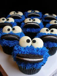 cookie moster cupcakes - Google Search                                                                                                                                                                                 More