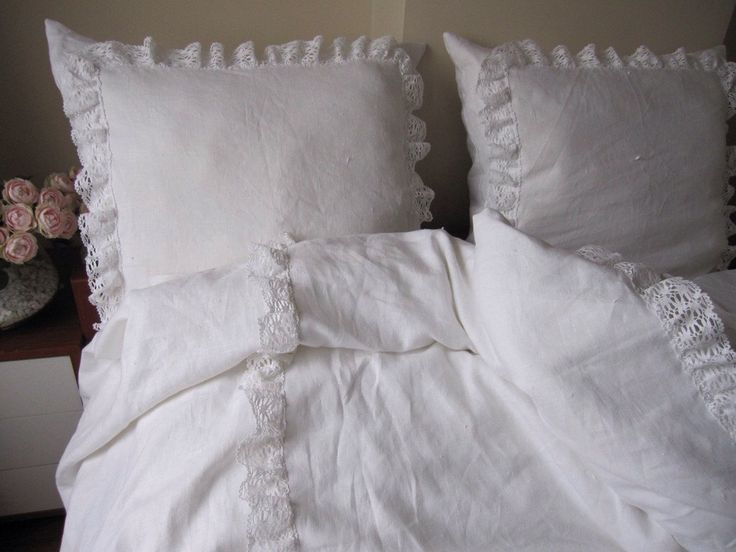 White linen KING ruffled bedspread bobbin lace trim with euro shams - coverlet summer blanket-shabby chic bedding by nurdanceyiz on Etsy https://www.etsy.com/listing/128249210/white-linen-king-ruffled-bedspread