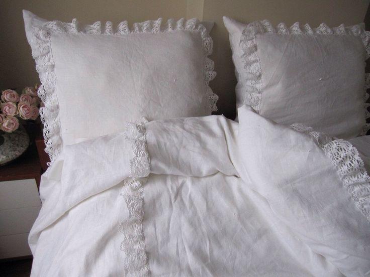 White linen KING ruffled bedspread bobbin lace trim with euro shams - coverlet summer blanket-shabby chic bedding by nurdanceyiz on Etsy https://www.etsy.com/listing/128249210/white-linen-king-ruffled-bedspread