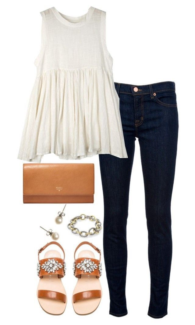 flowy white tank, dark wash skinny jeans, tan clutch, jeweled tan sandals