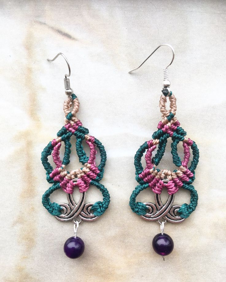 Excited to share the latest addition to my #etsy shop: Handmade Macrame Earrings, Boho, Tribal, Gypsy, Hippie, Festival Earrings, Weddings Earrings, Colorful Earrings, Gift, Beach, Gemstone http://etsy.me/2o7FH62 #jewelry #earrings #blue #boho #earwire #silver #hippie