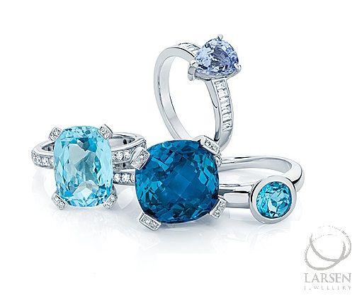 Beautiful blue gemstones of all shapes and shades... at Larsen Jewellery.    #larsenjewellery #gems #bluegemstones #sapphires #topaz #bluesapphires #dressrings #engagementrings #merings