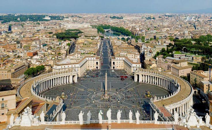 Plac św. Marka z kolumnadą Berniniego przed bazyliką św. Piotra w Rzymie, 1656-67