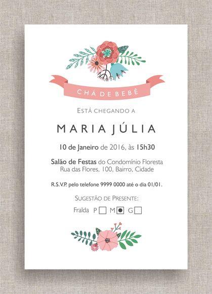 Convite Digital Chá de Fraldas 22 Chá de Bebê, tema moderno, diferente, simples, clean, elegante, floral. Baby shower invite, modern theme, flower, ribbon.