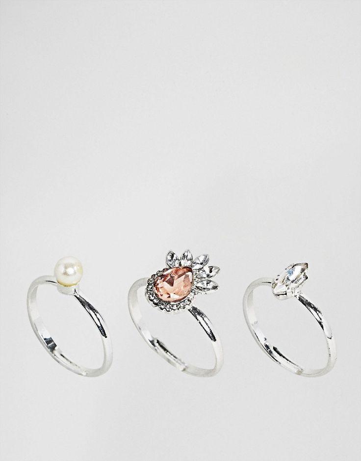 Johnny Loves Rosie - Ringe mit Perlen und Schmucksteinen im 3-Pack - Silber Jetzt bestellen unter: https://mode.ladendirekt.de/damen/schmuck/ringe/silberringe/?uid=3e263e4e-cd9b-58c5-b708-91ad121f3f1f&utm_source=pinterest&utm_medium=pin&utm_campaign=boards #schmuck #ringe #sale #uhren #female #silberringe
