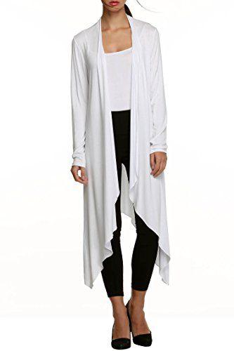 Meaneor Women's Long Sleeve Waterfall Asymmetric Drape Open Cardigan