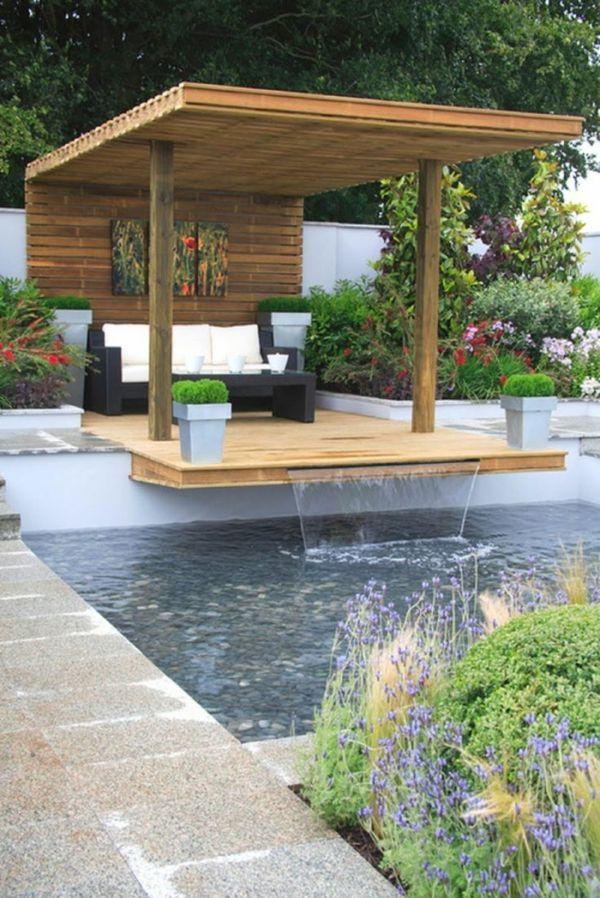 terrassengestaltung bilder veranda bauen holzpergola direkt am pool