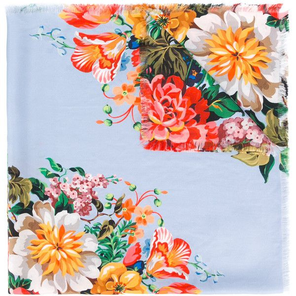 Gucci floral print scarf (€435) ❤ liked on Polyvore featuring accessories, scarves, blue, floral shawl, blue silk scarves, colorful shawl, floral print scarves and floral scarves
