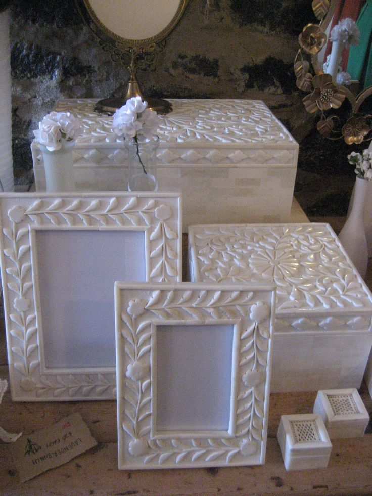 Carved bone boxes and frames