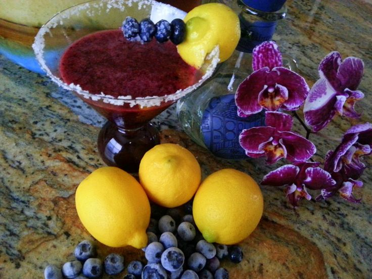 Blueberry Margarita's- 4-6 drinks 2 cups of fresh blueberries from Wish Farms 1/2 cup of freshly squeezed yellow lemon juice 1/2 c of water  4 teaspoons of  raw sugar  1/2 c tequila blanco Salt and ice Combine all ingredients accept sale and ice in blender til smooth.