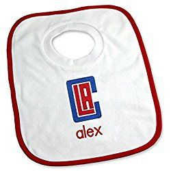 Designs by Chad and Jake Baby Personalized Los Angeles Clippers Bib One Size White