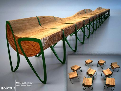 This Unique Bench Is Made Of Reclaimed Wood (or Logs). Composed Of 4  Separable Modules, It Is Made To Be More Manageable. The Legs Can Be Made  Of Woodu2026 Great Pictures