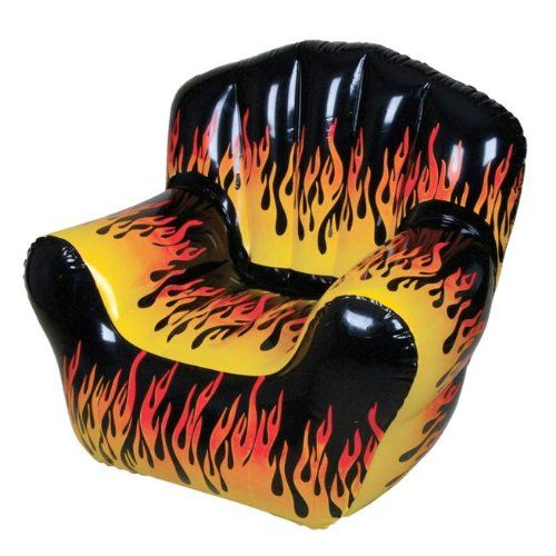Inflatable Flame Chair The Hottest Chair on the Planet. 42 x 40 x 36. Comfortable armrests and backrest. Extra Thick 0.35mm Material. Weight Capacity: 300 lbs.  #Rhode_Island_Novelty #Single_Detail_Page_Misc