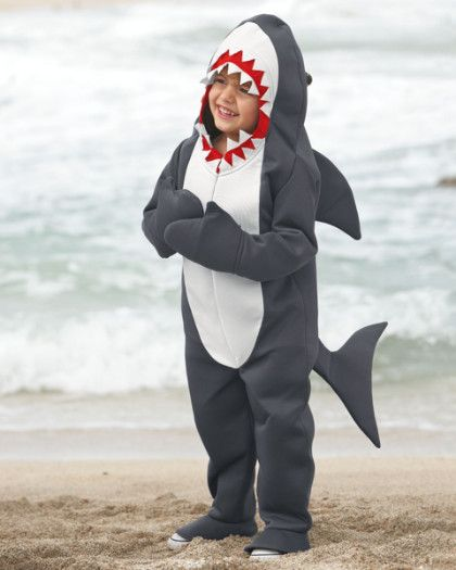 "Great White Shark Costume For Boys - exclusively ours - Cue the ""Jaws"" soundtrack. Your little great white shark prowls the neighborhood in a hooded gray bodysuit, complete with fin, tail and pointy teeth."