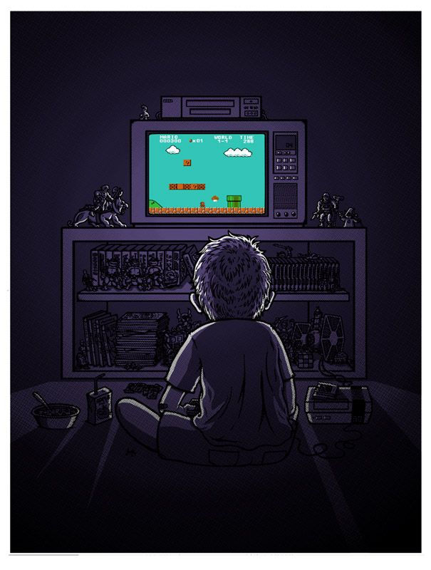 Image result for a lad playing video games in the dark