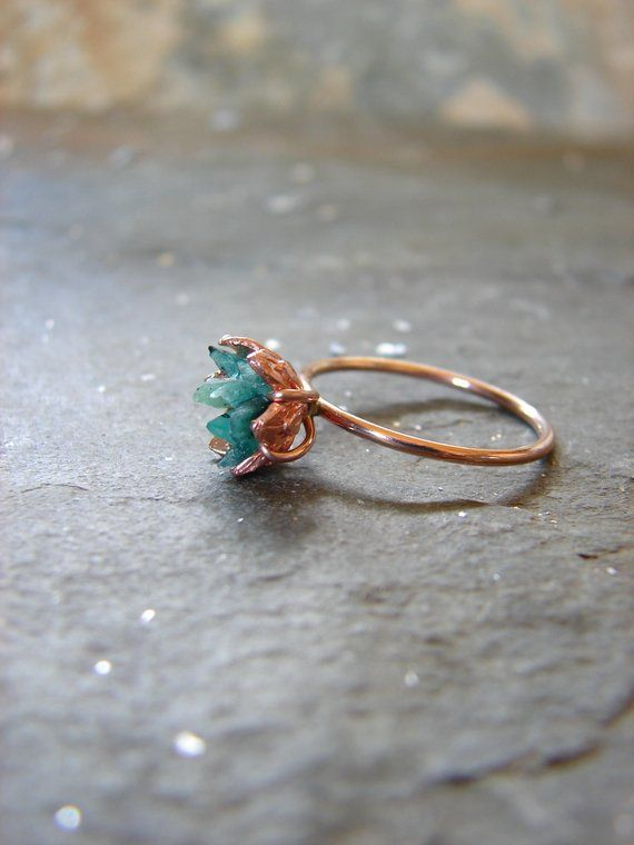 Rough Emerald ring in my best selling lotus flower design. A handcrafted rose go…