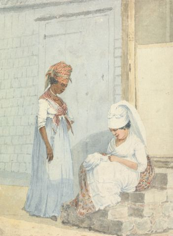 William Kay, active 1795, Seamstresses, St. Kitts, Carribean, 1798, Watercolor over graphite on moderately thick, slightly textured, cream wove paper, Yale Center for British Art, Paul Mellon Collection