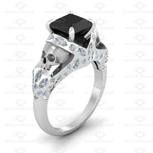 Show details for 'Le Reve' 2.20ct Princess cut Black Moissanite and White Diamond White Gold Skull Engagement Ring