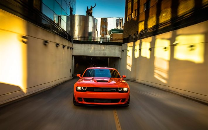 Download wallpapers Dodge Challenger SRT Hellcat, tunnel, 2018 cars, supercars, motion blur, orange Challenger, tuning, Dodge