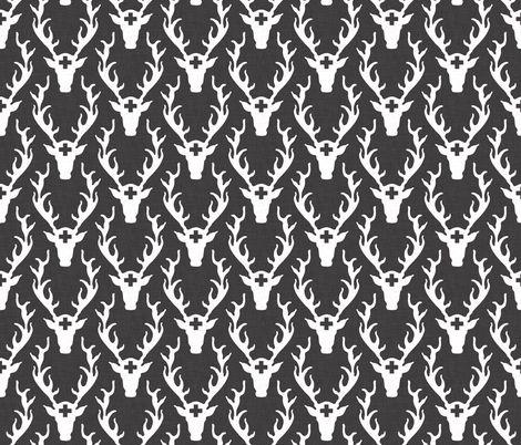 birch_deer_head fabric by holli_zollinger on Spoonflower - custom fabric