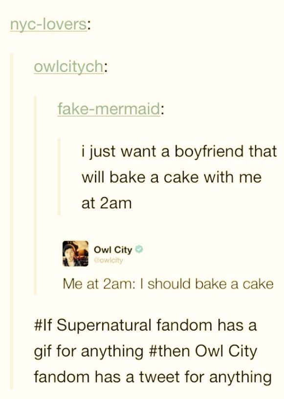 If the Supernatural fandom has a gif for everything, then the Owl City fandom has a tweet for everything. XD