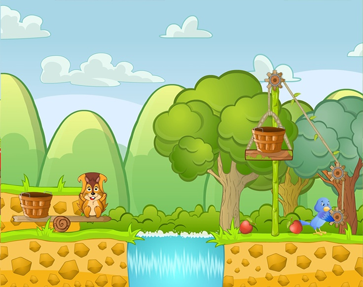Ilustración de escenarios :::  Juego para Ipad - Annie's Picking Apples :::  Realizado para Real fun Learning