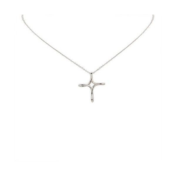 Pre-Owned Tiffany & Co. Sterling Silver Infinity Cross Pendant... (£140) ❤ liked on Polyvore featuring jewelry, necklaces, silver, cross pendant necklace, infinity cross necklace, sterling silver cross necklace, sterling silver cross jewelry and tiffany co necklace
