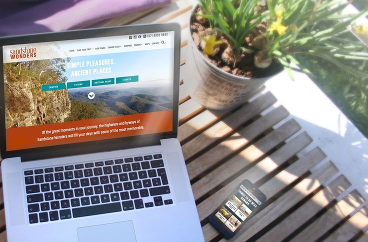 Sandstone Wonders destination website, laptop