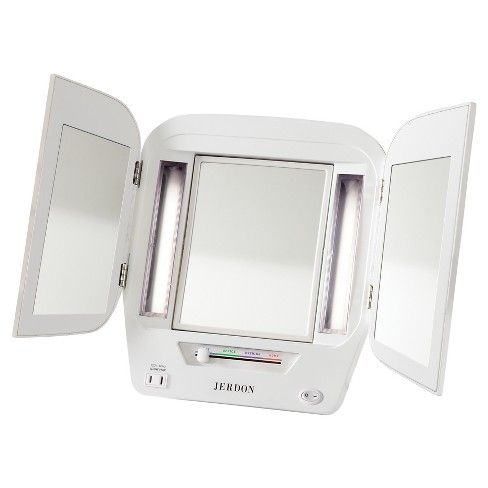 The Jerdon JGL10W Tabletop Tri-Fold Two-Sided Lighted Makeup Mirror is a bathroom and makeup mirror with cool to the touch fluorescent lighting and adjustable side mirrors that fit nicely on any tabletop. Adjustable magnification, versatile illumination and multiple viewing angles make this tri-fold mirror perfect for your beauty needs. This handy mirror has an adjustable center that swivels from 1X magnification to 5X magnification. Make sure every detail of your hair and makeup are in…
