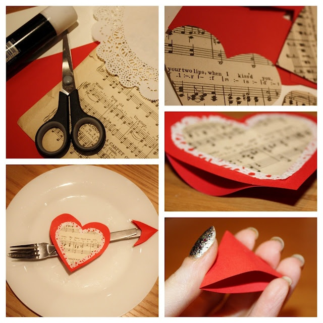 Valentines Day heart and arrow cutlery table decoration