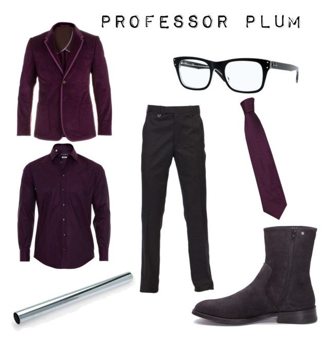 """Professor Plum"" by worldofzack ❤ liked on Polyvore featuring Paul Smith, Dolce&Gabbana, Diesel, Ray-Ban, professor plum, clue, halloween and costume"