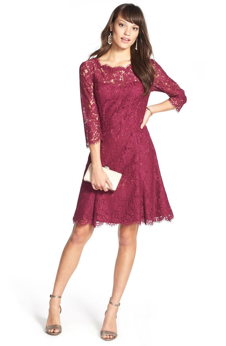 Lace Fit Flare Dress Regular
