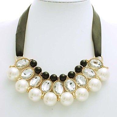 Korean Style hvid med sorte perle bånd halskæde Kvinder krave halskæde – NOK kr. 88