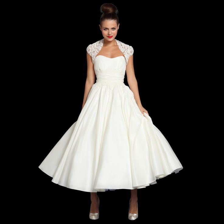 """So cute to change into for reception!! Very """"Grease"""" inspired!!  Add a colorful corsage at the waist and matching flats and you're ready to dance the night away!!  Don't forget your dance card! tea length vintage wedding dress - 1950s"""