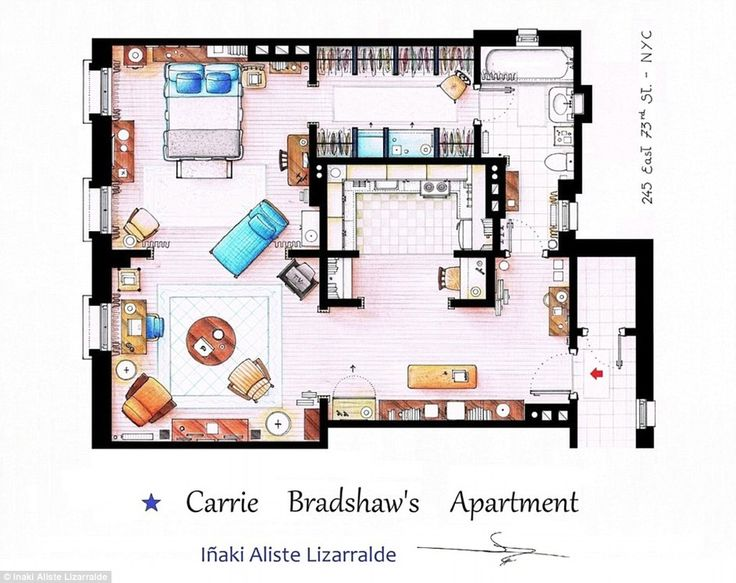 Artist Inaki Aliste Lizarralde's floor plan of Carrie Bradshaw's intimate apartment from the show Sex and the City.