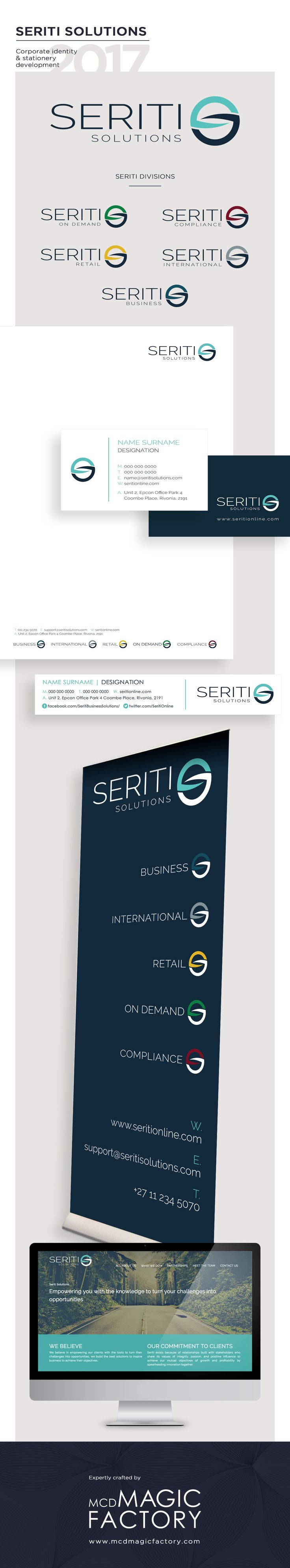 Client: Seriti Solutions | Year: 2017 | New corporate identity rolled out in business cards, e-signatures, PowerPoint templates, desktop backgrounds and letterheads. www.seritionline.com