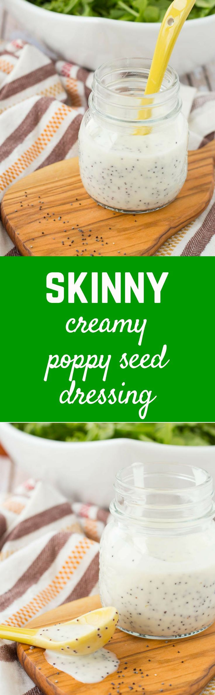 Creamy poppy seed dressing made with yogurt instead of mayonnaise -- you'll love the flavor of this light and easy to make dressing! Get the dressing recipe on http://RachelCooks.com!