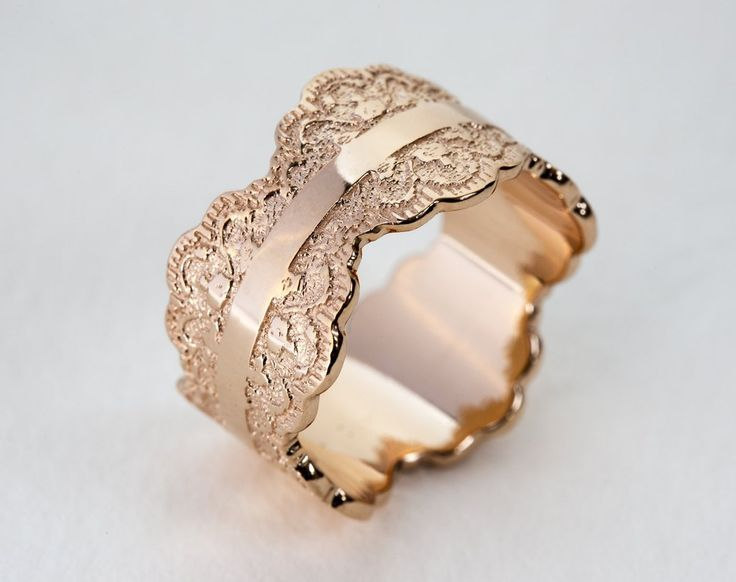 This unique made-to-order scalloped gold ring is crafted with a beautiful lace pattern and measures approximately 12 mm wide. When placing your order, please choose your regular ring size (not wide ri