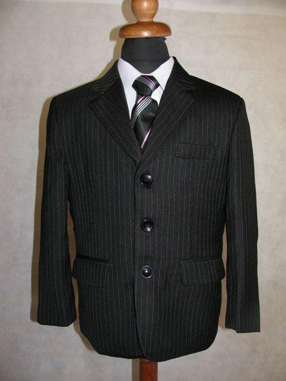"""Κοστούμια για Αγόρια - Σμόκιν :: Κοστούμι 5 Τεμάχια σε Μαύρο Ριγέ για Αγόρι Για Παράνυμφο, Γάμο, Εκδήλωση """"Hugo"""" - http://www.memoirs.gr/"""