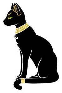 """Cats, known in Ancient Egypt as """"Mau"""", were considered sacred in ancient Egyptian society. The cat was a symbol of Bastet. The ancient Egyptians made many statues of cats like this drawing to honor the Goddess Bastet. Often appears as a black cat."""