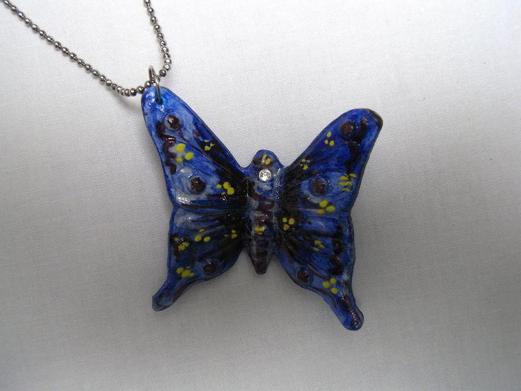 #Collana con #Pendente #Farfalla Blu