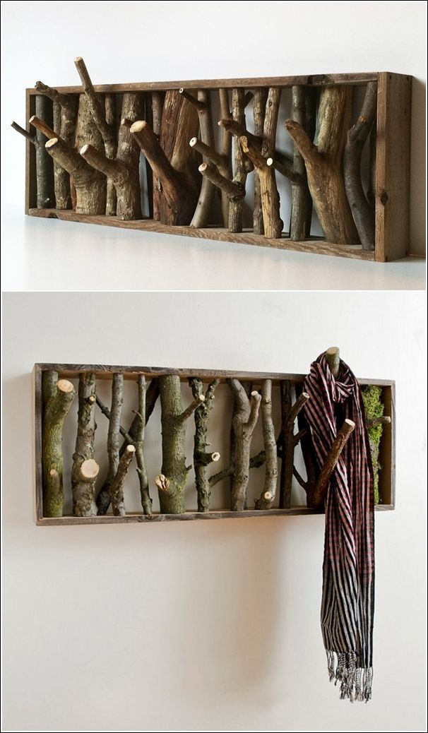 À faire soi-même, un portemanteau naturel avec quelques branches d'arbre.