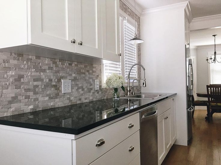 image result for modern kitchen with black granite countertops - White Kitchen Black Countertop