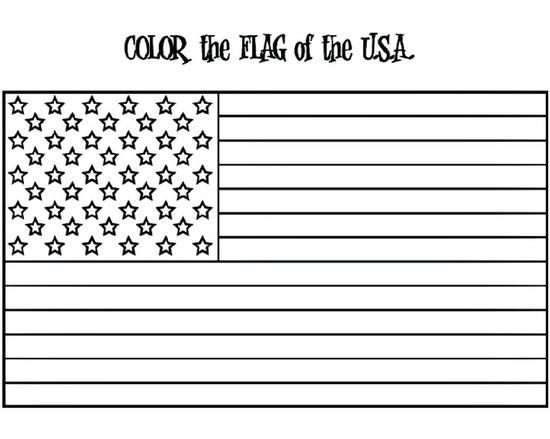 Patriotic President's Day American Flag Coloring Page for Kids and Preschool Printable