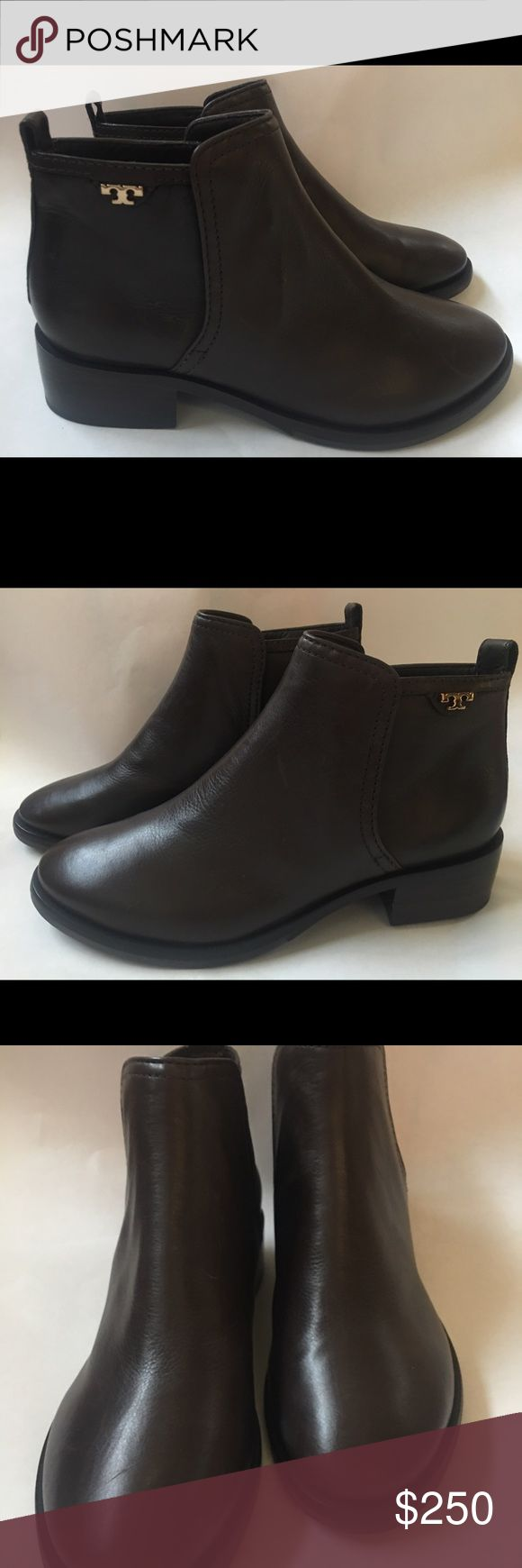 Tory Burch brown leather ankle boot 6.5 New! New without box.  I planned to keep and tossed the box. Size 6.5 dark brown Tory Burch Shoes Ankle Boots & Booties