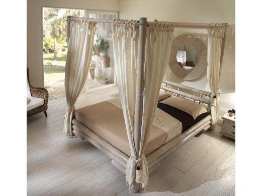 Łóżko Tabanan z baldachimem białe