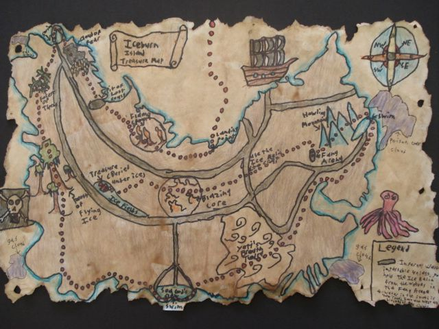 First they sketched a plan in their sketchbook.  The had to include a compass rose, a pirate ship and a Jolyl Roger flag, as well as a path and X for the treasure and a scroll with some sort of title.  Many kids thought up a theme for their map. They had to also think of unusual names for all the features on the island.
