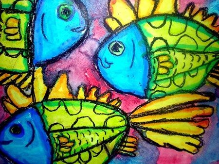 school of fish. Cute idea using crayon resist and watercolor! From Art Student Academy Art Ideas ... I love the work of Artist M Theresa Brown, and her Husband. (These are some of the things Theresa's art students, do!)