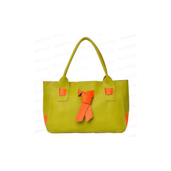 Knot-Detail Faux Leather Tote Lime Green ($15) ❤ liked on Polyvore featuring bags, handbags, tote bags, yellow tote, vegan purses, yellow tote bag, faux leather tote bag and zip top tote bags